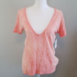 We The Free Coral Burnout Tee Shirt NWT